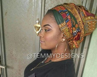 Dashiki headwrap for women, Dashiki turban, African headwrap, African turban, women clothing, African clothing