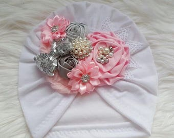 Turban with flower light pink and silver
