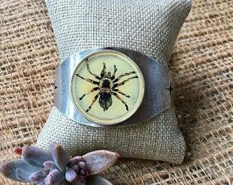 ON SALE Hand-painted Tarantula cuff bracelet