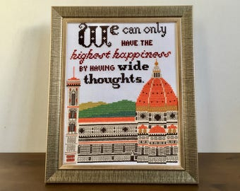 """Completed cross stitch wall art - Wide Thoughts (George Eliot, Romola) Florence Duomo - 8""""x10"""" framed or unframed"""