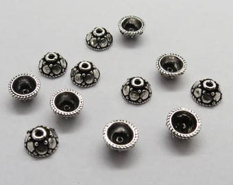 12 Pieces 925 Sterling Silver Bali Beads Cap 6mm Round