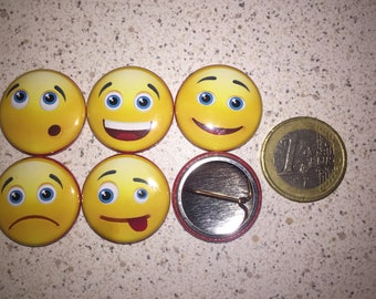 5 smiley face, emoticons, pins badges