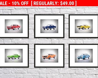 6 muscle Cars prints, car poster, cars room art, vintage cars, car print, car decor, boys room decor, kids room decor, car wall art