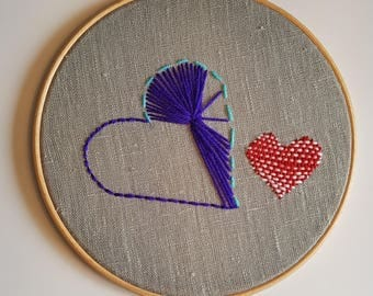 Hand Embroidered Hearts on 8 Inch Hoop, Embroidery Art, Wall Art, Home Decor
