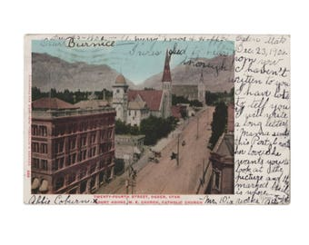 UTAH: 24th Street in Ogden with the old courthouse and  Saint Joseph Catholic Church - Undivided back Postcard, 1907 Cancel
