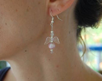 Earrings angel, pendant, transparent, pink and silver, nickel free