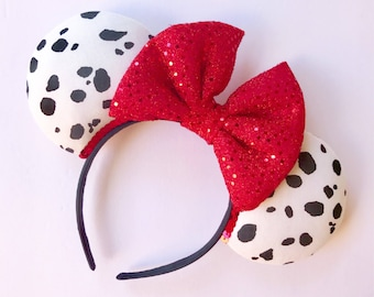 Dalmations Disney Park Minnie Ears, Dalmation Ears, Cruella Ears, Cruella Deville, 101 Dalmations