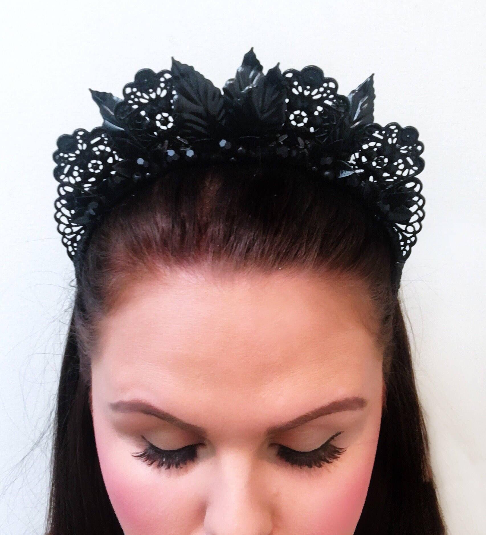 Matte Black Floral Crown Black Crown Flower Crown Flowers Metal