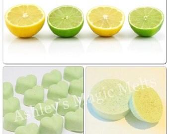 Lemon and lime wax melts, fruity wax melts, wax cubes, cheap wax melts, strong wax melts, highly scented wax melts, citrus wax tart melt