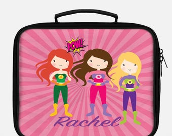 Superhero lunchbox, Lunchbox, Lunch bag, Lunch tote, Personalized lunch box, Children's lunchbox, Girls lunchbox, Insulated lunch, School