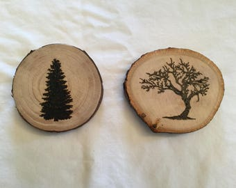 Set of woodburned tree magnets