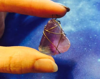 Wire Wrapped Rainbow Fluorite Pendant of the Dreamer