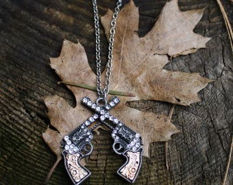 Twin Decorative Pistol Guns on a Silver Chain Necklace - Gifts for Her