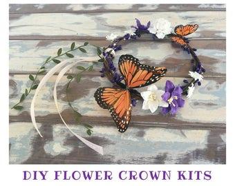 1 diy flower crown kit headband garland party favour girls princess fairy floral tiara craft