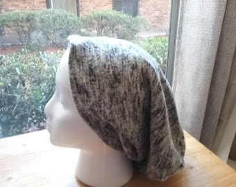 Satin Lined Beanie - Grey and White