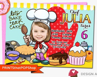 Baking Invitation,FREE Bonus,Custom Face Invites,Cooking Invitation,Bake,Cooking Party,Cupcake Party,Siblings Invite,Chef Party,Let's Cook