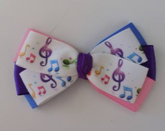Music Notes Hair Bow - Girl's Hair Bow, Hair Bow for girl, Music theme bow, Toddler hair bow, Music hair clip