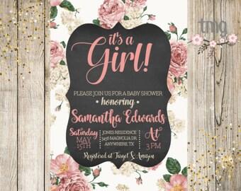 Girl Baby Shower Invitation, Floral Baby Shower Invite, Girl Baby Shower, Baby Shower, Digital File