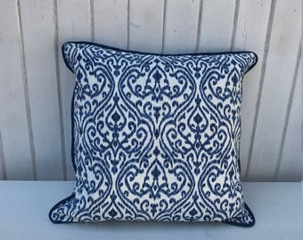 Handmade Blue and White Ikat Print Cushion Cover