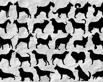 30 Dog Silhouettes | Dog SVG cut files | Dog Cliparts | printable | vector files | digital files | instant download