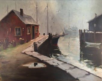 Vintage 1966 Massachusetts Harbor Oil Painting / Original Art Rockport, MA. Dock Scene / Coastal Decor Painting with Boats
