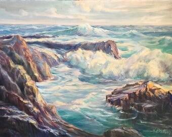 "Vintage Large Signed ""Hazel Pletsch"" Seascape Oil Painting / Original California Artist Coastal Ocean Painting  of Waves Against Rocks"