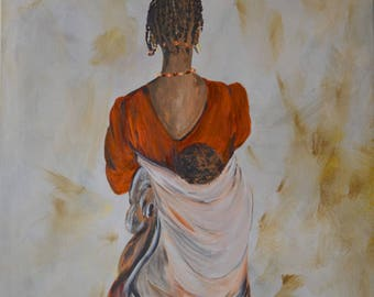 painting of an African mother with her baby