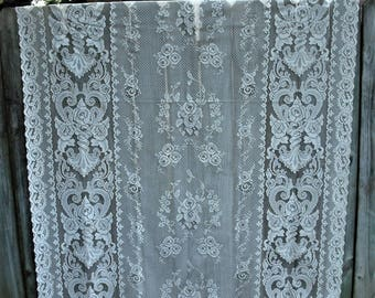 Vintage Off White Ornate Lace Curtain Panel, Shabby Chic Curtains,