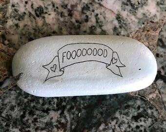 "Natural, Handmade Printed ""I Love Food"" Stone. Unique Stone Art Gift."