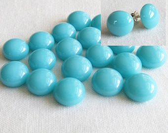 Glass Cabochons Earrings 9-10mm (18 cabs) Turquoise Cabochons used Glass Round Cabochon Small Cabochons Simple for Stud Earrings Jewellery