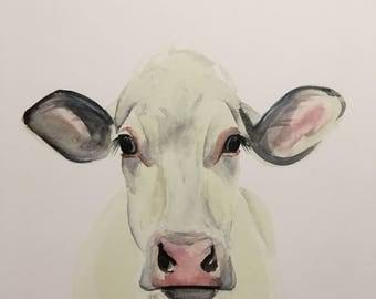 White cow watercolor PRINT
