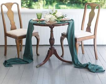 gauze table   hunter green wedding   green tablecloth   gauze runner   wedding   green runner   green wedding decorations   Party decor