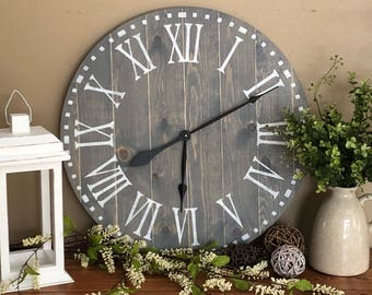 Clock - Clock for Wall - Rustic Clock - Farmhouse Clock - Farmhouse Decor - Farmhouse Clock White - Farmhouse Clock Large - Large Wall Clock