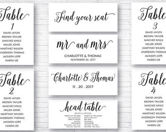 Printable Wedding Seating, Wedding Seating Table, Wedding Table Cards, Seating Cards, Seating Chart Download, INSTALL DOWNLOAD, Signs, 008