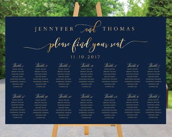 PRINTABLE Wedding Seating Chart, Wedding Seating Chart, Wedding seating template, Navy seating chart, Seating chart, Find Your Seat SC69-2