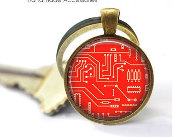RED CIRCUIT BOARD Key Ring • Computer Motherboard • Electrician • Engineer • Geek • Nerd • Gift Under 20 • Made in Australia (K502)