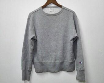 Vintage CHAMPION Sweatshirt Gray Colour Design