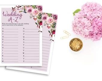 Wedding A-Z Bridal Shower Printable Game Boho Flowers Pink Background Wedding Card Instant Download - BG001