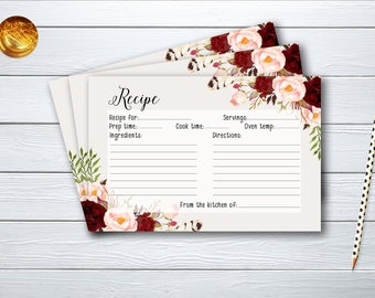 Recipe Card Bridal Shower Floral Printable Games Burgundy Marsala Wedding Card Instant Download BG-003
