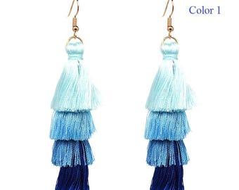 4 Layered Tassel Earrings,  drop earrings, long fringe earrings