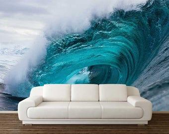 Wave Wallpaper, Wall Mural Ocean, Wall Decal Waves, Waves Wall Mural, Peel And Stick Vinyl