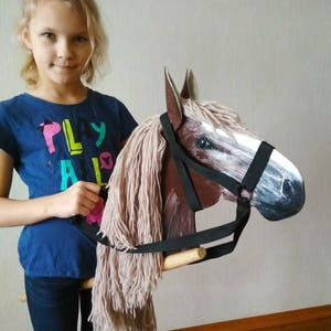 Horse lover gift etsy brown hobby horse wooden horse crazy wabi sabi decor horse toy horse decor active games easter negle Gallery
