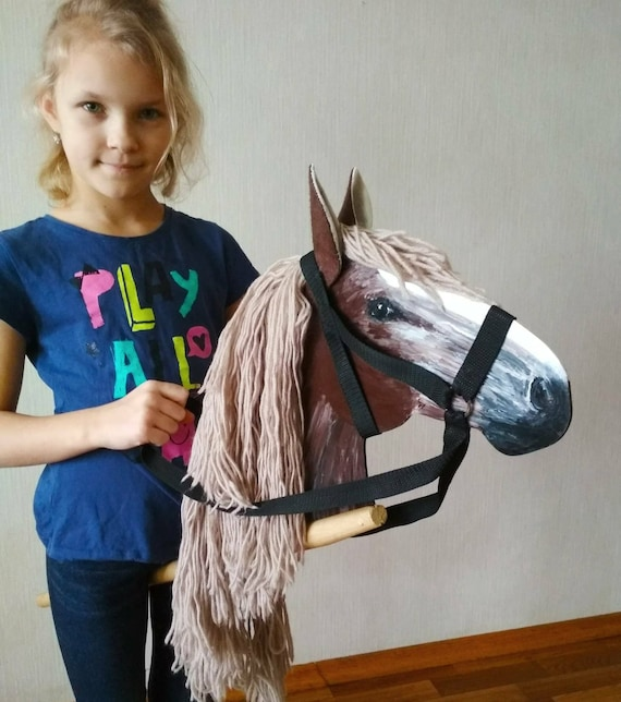 Brown hobby horse wooden horse crazy wabi sabi decor horse toy like this item negle Images