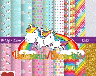 Rainbow/Unicorn Digital Paper Unicornio/Arco-iris kit digital
