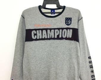Rare!! Vintage CHAMPION Sweatshirt Longsleeve Spellout Medium Size Grey Color
