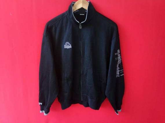 Sale!! Vintage Kappa Jacket Jaspo Big Logo Fully Zipper Stripe Logo Hip Hop Sport Size Large 4OBKKlH