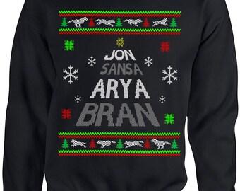 Game of Thrones, Stark, Jon Snow, Arya Stark, Sansa Stark, Bran Stark, Ugly Christmas Sweater, Ugly Sweater Party, Christmas Jumper
