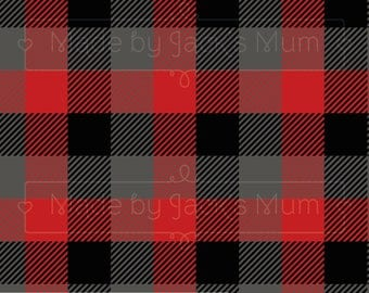 Red/Grey/Black Plaid French Terry (280gsm, 94/6 Cotton/Elastane) *UK*