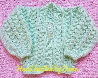 Hand knitted Baby cardigan, lacy cardigan, cardigan