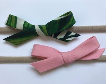 Schoolgirl Bows | Set of Bows | Bow Duo | Headband Set | Baby Shower Gifts | Nylon Headbands | Baby Girl | Palm Trees | Pink
